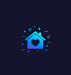 Home with heart vector