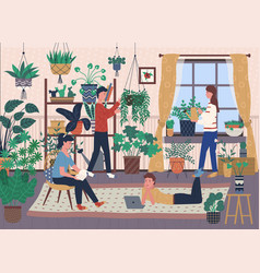 House full of indoor plants and greenery florists vector