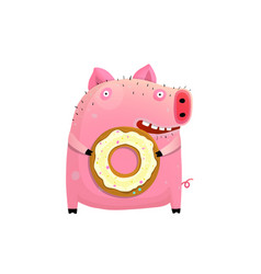Humorous pig holding donut vector