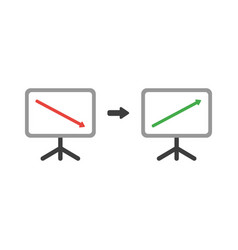 icon concept of sales chart arrow moving down and vector image