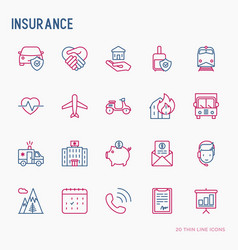 insurance thin line icons set vector image