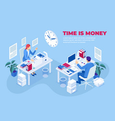 isometric time is money concept time management vector image