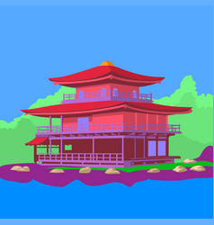 japanese house on lake around with green vector image