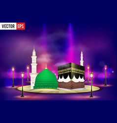 Kaaba mekkah and madina pak islamic sacred vector