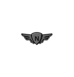 Letter n initial logo wing and badge shield vector