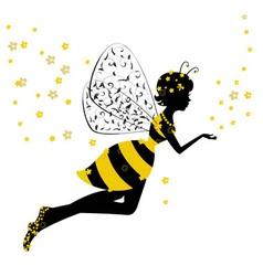 little bee fairy girl vector image