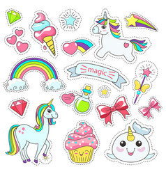 magic cute unicorn stars on clouds poster vector image