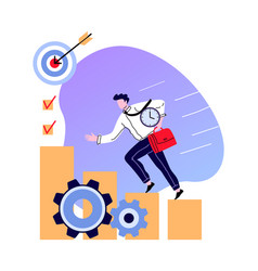 Man climb on staircase to business goal vector