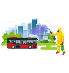 man wearing a protective suit disinfects bus and vector image