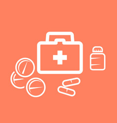medical kit box and pills - medicine and pharmacy vector image