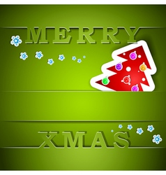 Merry Xmas green card with tree vector image vector image