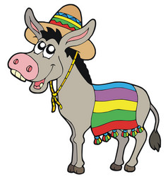 Mexican donkey with sombrero vector