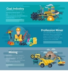 Mining Horizontal Banner Set vector image