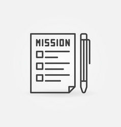 mission document with pen outline icon vector image