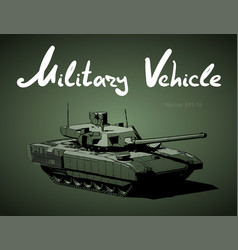 Modern russian battle tank military machine vector