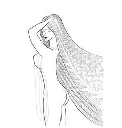 Naked girl zen tangle the erotic coloring book vector