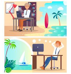 office workers daydream about vacation abroad set vector image