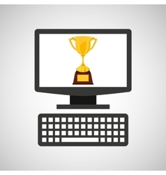 online education technology winner trophy vector image