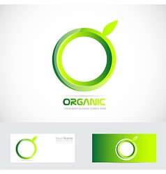 Organic green apple logo vector image