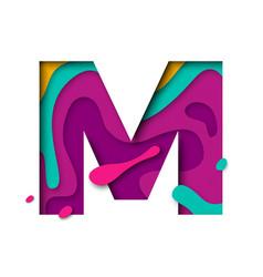 Paper cut letter m realistic 3d multi layers vector