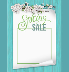paper sheet with spring blooming branch vector image