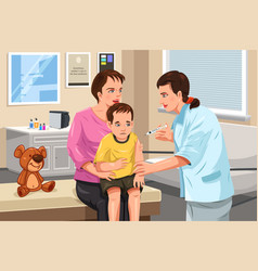 pediatrician giving a shot to a little child vector image