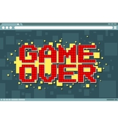 Pixel computer game over screen on display vector