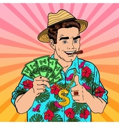Pop Art Rich Man with Dollar Banknotes and Cigar vector