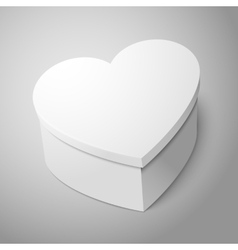 realistic blank big white heart shape box isolated vector image