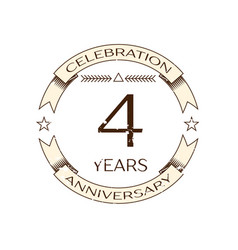 realistic four years anniversary celebration logo vector image