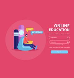 Remote education login page vector