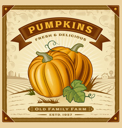 Retro pumpkin harvest label with landscape vector