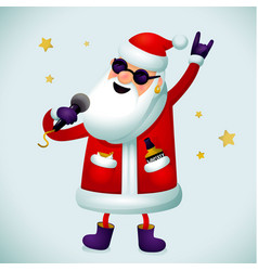 rock n roll santa character singing santa claus - vector image