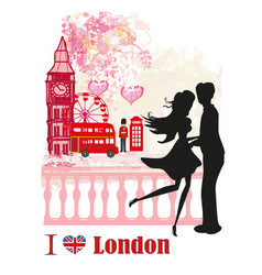 romantic couple in london card vector image