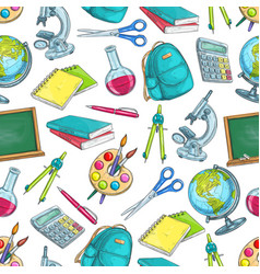school supplies and education seamless pattern vector image