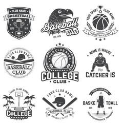 Set basketball and baseball badge emblem vector