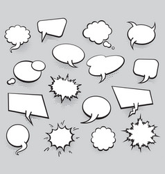 set blank template in pop art style comic text vector image