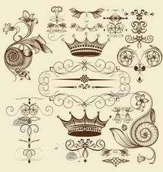 set of calligraphic flourishes for design vector image