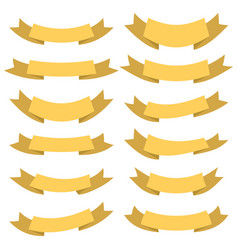 set of twelve yellow ribbons and banners vector image
