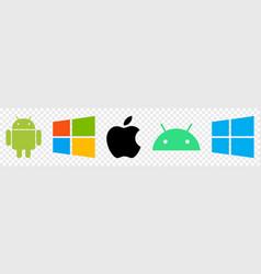 Set top brand operating system logos vector