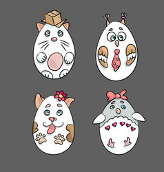 set with 4 cute animals in a shape of eatser eggs vector image