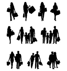 Silhouettes of shopping vector
