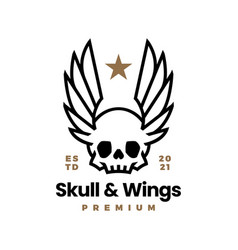 skull and wings t shirt logo icon vector image