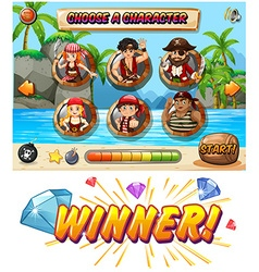 Slot game template with pirate characters vector