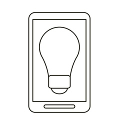 Smartphone bulb idea imagination outline vector