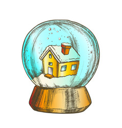 snow globe with house souvenir vintage vector image