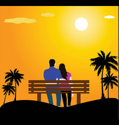 sunset couple sitting on bench vector image