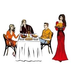 Thanksgiving or christmas dinner vector