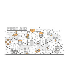 thin line art first aid poster banner vector image
