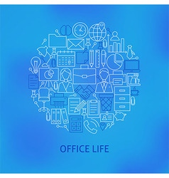 Thin Line Business Office Life Icons Set Circle vector image